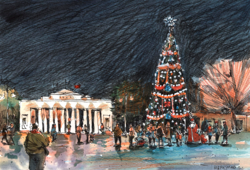 Меркулов Серге, Скетч, рисунок, Новый год