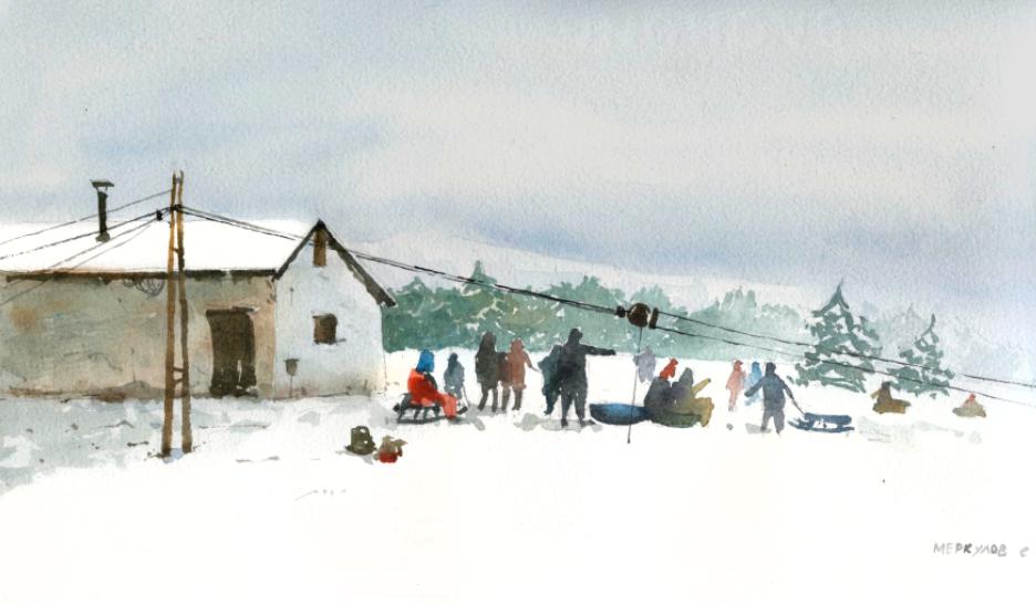 Меркулов Сергей, Ай-петри, Крым, рисунок, скетч, зима, акварель